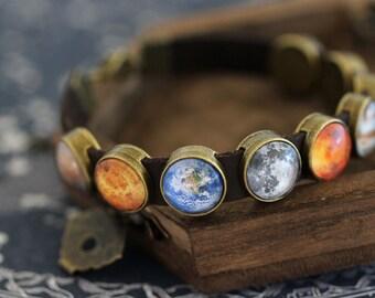 Planet Bracelet, Space Bracelet, Leather Planet Bracelet, Solar System Bracelet, Space Jewelry, Planet Jewelry, Galaxy Bracelet, Planets