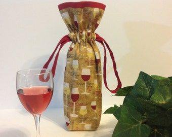 Wine Bag, Wine Gift Bag, Wine Tote, Wine Bottle Bag