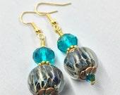 Earrings, Handmade, Lampwork Glass Beads, Dangle Earrings, Swarovski Crystal Earrings, Gold Plated Ear Wires, Green, Women's Earring Jewelry