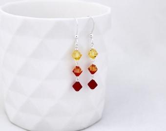 Makeforgood, Swarovski earrings, silver earrings, swarovski crystal, sterling silver earrings, rainbow earrings, swarovski, red earrings