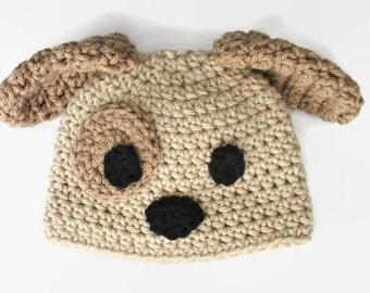 Newborn Puppy Hat, Newborn Hat, Baby Puppy Hat, Beige Puppy, Purple, Pink, Blue Puppy, Newborn Photo Prop, Baby Shower Gift, New Baby Gift