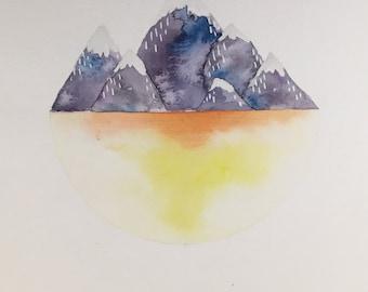 Watercolor Colorado Mountains