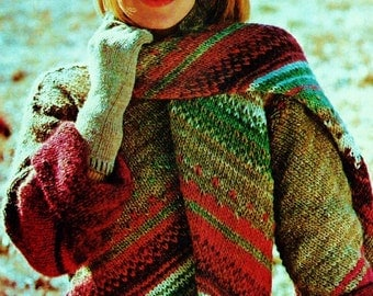 Diagonal Stripe Sweater and Scarf Vintage Knitting Pattern Download