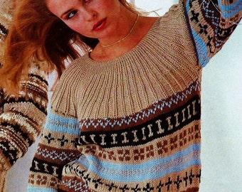 Fair Isle Pullover Vintage Knitting Pattern Download