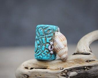 6-22 mm Real seashell dreadlock bead sea jewelry turquoise dread bead polymer clay bead marine organic dreadlock bead nature dread bead