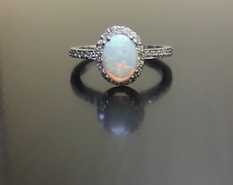 Halo Diamond Opal Engagement Ring -  Art Deco White Gold Opal Diamond Wedding Ring - 14K Halo Opal Ring - Halo Diamond Ring