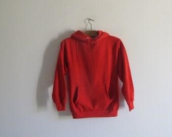Vintage 80s /90s Jerzees plain hoodie raglan RED sweatshirt small