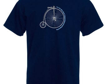 Bicycle t-shirt  -  Velocipede t-shirt - Albert Einstein quote: 'Life is like riding a bicycle. To keep your balance you must keep moving'