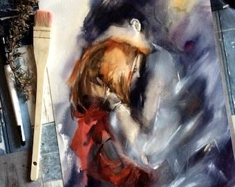 Love Hug ORIGINAL Watercolor Painting, Love Couple, Watercolour Modern Art