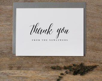 5 x Thank you from the Newlyweds - Wedding Thank You Card - Newlyweds Wedding Card, Wedding Thank You Cards, Wedding Guest Thank You, K7