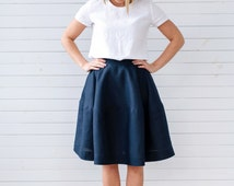 Linen skater skirt, Linen skirt for summer, Navy blue linen skirt, Natural linen skirt, Linen skirt with pockets, Blue skirt, Handmade skirt