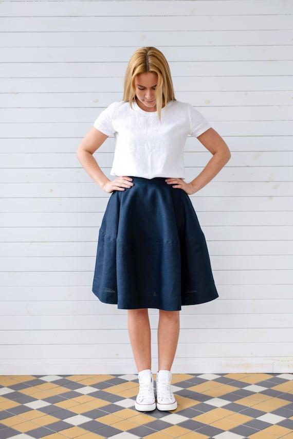 linen skater skirt linen skirt for summer navy blue linen