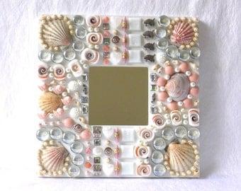 Mosaic mirror, embellished wall decor, nautical bath wall mirror, nautical mirror, button art, ocean jewelry, wedding favor, gift women