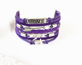 Love Arrow Faith Anchor Purple Cord Bracelet