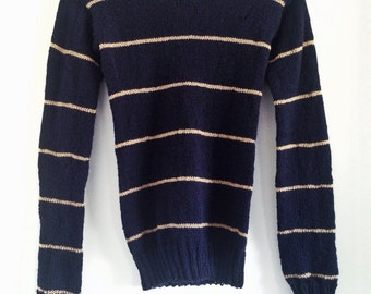 Sweater, Pullover Sweater, Striped Sweater, Knit Sweater, Fine Knit Sweater, Fall Fashion, Winter Fashion, Gift Ideas, Handmade, Navy Blue