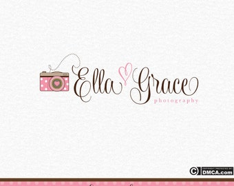 Premade Camera Logo, Photography Logo, Photographer Logo, Pink and Brown, Whimsical Logo, Business Logo, Photography Watermark, Logo Design