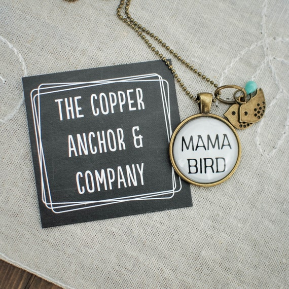 Mothers Day Necklace, Mama Bird, Mama Bird Necklace, Personalized Necklace, Necklace For Mom, Gift For Her, Baby Bird, Mothers Day Gift