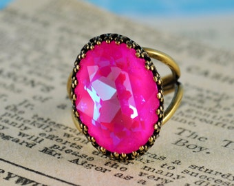 Swarovski Neon Pink AB 18mm X 13mm oval adjustable ring with oxidized brass setting
