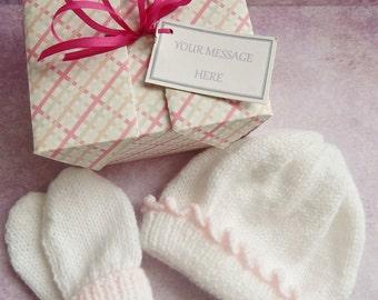 Newborn Baby Gift, Baby Hat and Mitten Gift Set, Knitted in White & Pink, Handmade Baby Gift, Baby Shower Gift, Baby Gift, Handmade UK