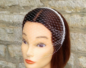 Off White Veil Birdcage Fascinator Headband Voilette Bridal Wedding Bachelorette Bridesmaid