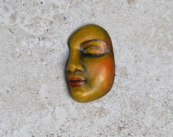 Face Cabochon Handmade Polymer Clay Goddes Lady Face Cab Bead Embroidery