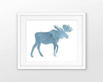 Moose Watercolor Wall Art - Moose Painting - Moose Decor - Hunting Decor - North American Moose - Elk Home Decor - INSTANT DOWNLOAD #2609