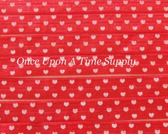 Red and White Heart Print Valentine's Fold Over Elastic for Baby Headbands - 5 Yards of 5/8 inch FOE - Printed Elastic By The Yard