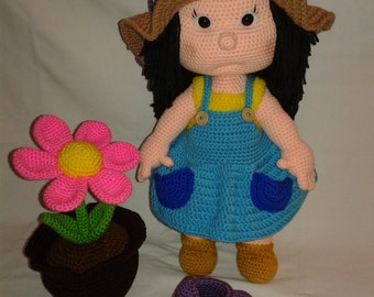 GINA the Gardener - Plant and Watering Bucket included - Crochet Doll - Crochet Amigurumi