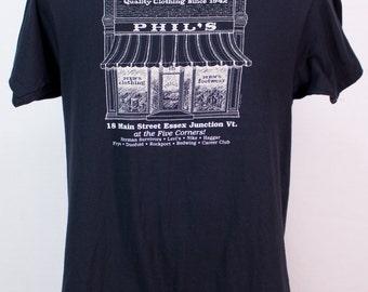 Vintage 80s Men's Clothing Store Tee Vermont Black & White