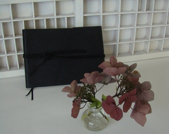 Oblong write book A5-black with music notes (blank)-leather note book music notes-hand-bound-supple leather