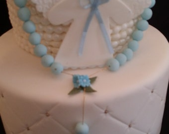 Baby Baptism Cake, Angel with Rosary Cake Topper, First Communion Cake Decor, Baptisn Favors and Decoration, Girl Baptism, Baptism For Twins