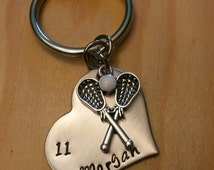 Hand Stamped Lacrosse Keychain Lacrosse Mom - Girls Lacrosse Keychain - Personalized Lacrosse Bag Charm - Team Colors
