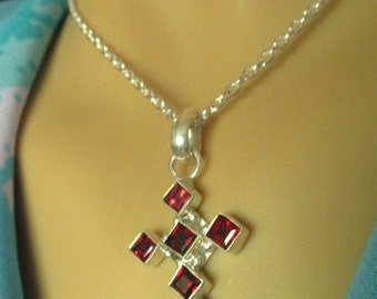 Genuine Garnet Cross Necklace