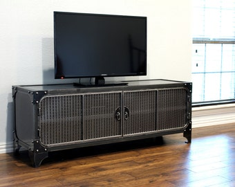 Modern Industrial Media Console / TV stand / Steel Cabinet / Entertainment Center / Console table / Vintage A/V Audio / HiFI Retro
