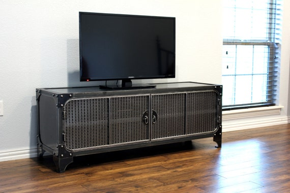 Modern Industrial Media Console Steel TV Stand Cabinet