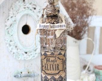 halloween skeleton handmade altered bottle orange mercury altered bottle happy halloween halloween decor