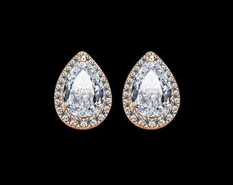 Teardrop stud earrings, luxury bridal earrings, diamond bridal jewelry, crystal studs, rose gold studs