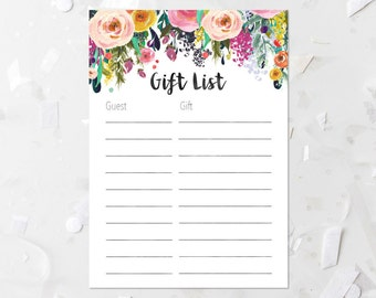 Wedding Gift List Printable : gift list printable floral baby shower gift list bridal shower gift ...