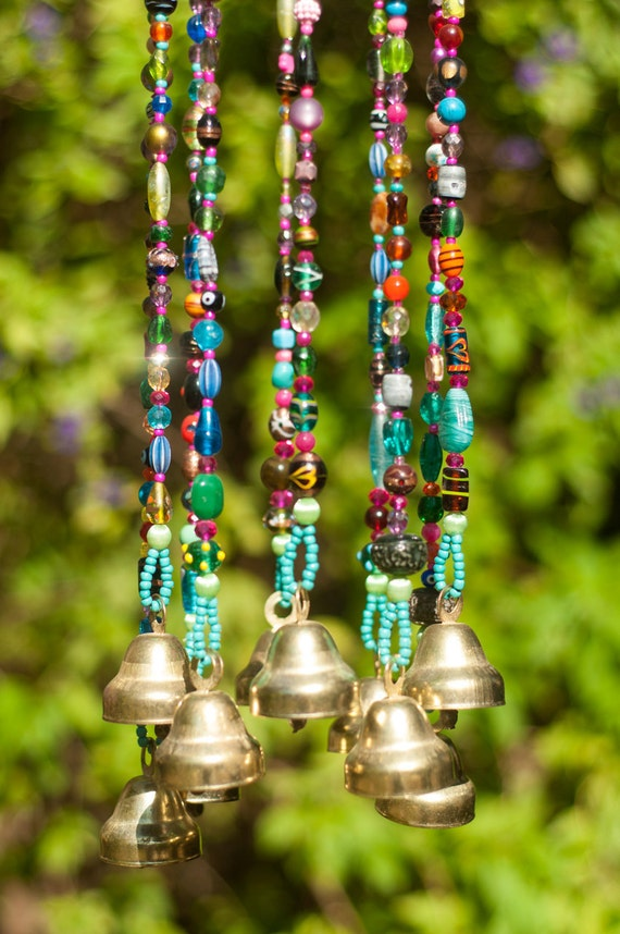 Wind chime beaded mobile with brass bells sun catcher for Outdoor hanging ornaments