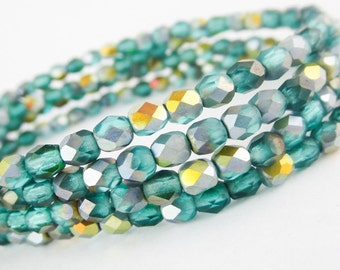 50 4mm Aquamarine AB Matte Faceted Glass, Small AB Green Czech Fire Polished Beads