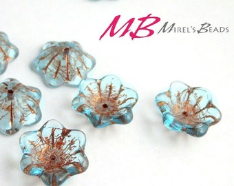 14 Transparent Aqua Blue Flower Beads, Copper Patina Czech Glass Beads, Bell Flower, 12x11mm Glass