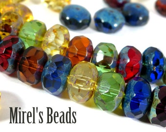 14 pcs Mixed Color Picasso Czech Glass Beads, 11x7mm Faceted Multi Color Luster Rondelles, Puffy Donut Beads