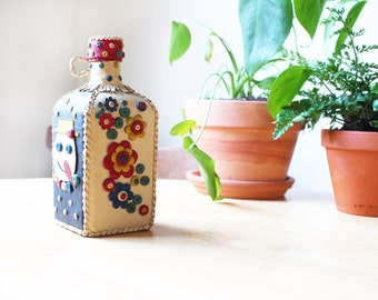 Bright Decorative Leather Covered Glass Bottle