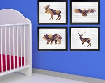 Rustic Animal Nursery,rustic decor nursery,tribal nursery,Woodland,Animals,Nursery decor,Bear,Deer,Eagle,Moose,Hawk,antlers,print set