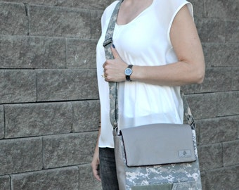 CHOICE of COLOR: Cross-body Mixed Media Army ACU Messenger Bag