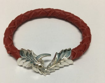 Dragon Claw Leather Bracelet -Sterling Silver 925-Men/Womens-Handmade in USA.