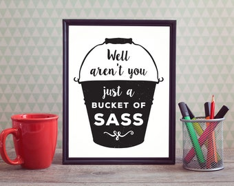 "PDF Printable • ""Well aren't you just a bucket of sass"" • Instant Digital Download"
