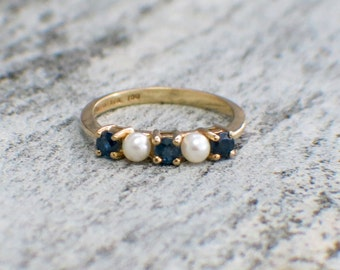 Tiffany and Co 18K Gold Sapphire and Pearl Ring