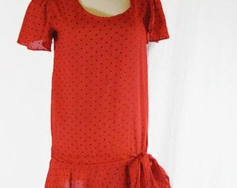 Vintage JODY California Day Dress Polka Dot Short Sleeves Red
