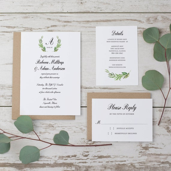 Sale rustic wedding invitation template monogram wedding for Wedding invitation template for sale